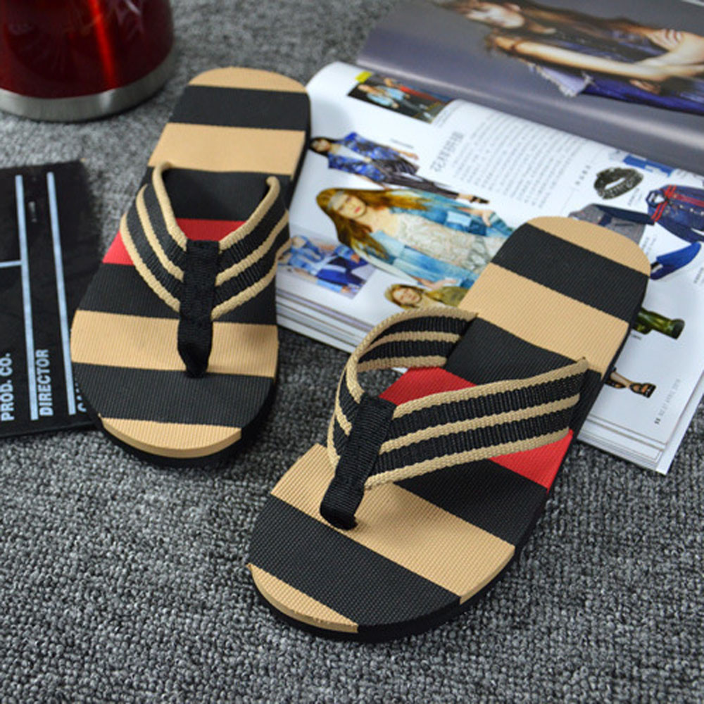 Summer Fashion Flip Flops Slippers For Men Flat Sandals Stripe Flip Flops Shoes Sandals Male Slipper Flip-flops Drop Shipping Beneficial To Essential Medulla Other