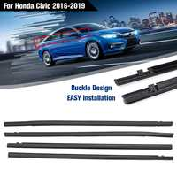 4PCS Car Outside Window Moulding Trim Weatherstrip Seal Belt Weather Strip Fit for Honda for Civic 2016 2019
