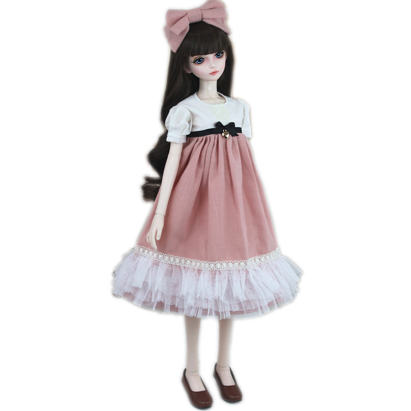 1/3 BJD Doll Accessories Clothes Dress For About 60cm Large BJD SD Doll Toy Princess Fairyland Bow Tie Long Skirt Gift For Girl oueneifs girl long skirt pink lace dress free cappa bjd sd clothes 1 4 body clothes yf4 47 luts volks ip switch fairyland