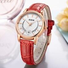 DOM Dames De Mode Casual Montres De Luxe Marque Bracelet En Cuir horloge heures Femmes Quartz-Montre Fleurs Femelle Montre-Bracelet G-1698