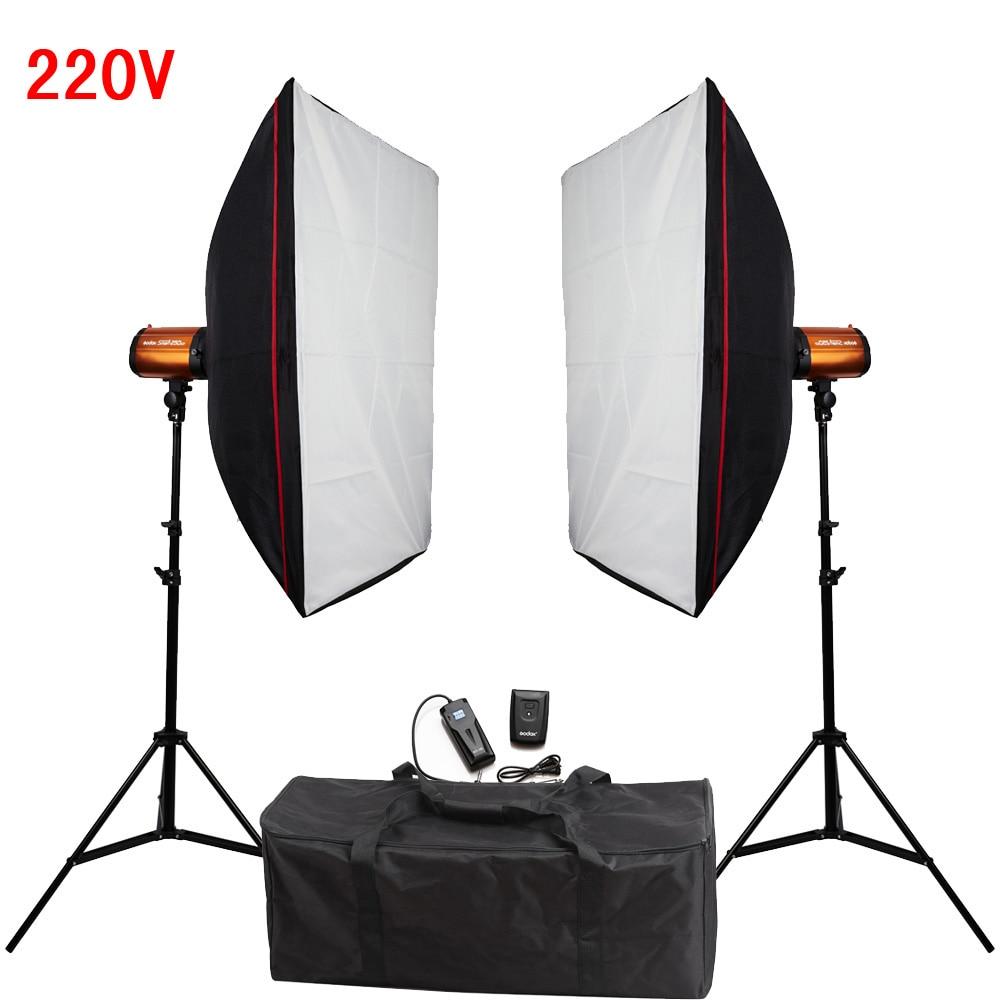 Photography Studio Soft Box Flash Lighting Kit 500W 220V Flash Light+Softbox+Light Stand*2+Photo Flash Sync Trigger Receiver Set ashanks small photography studio kit