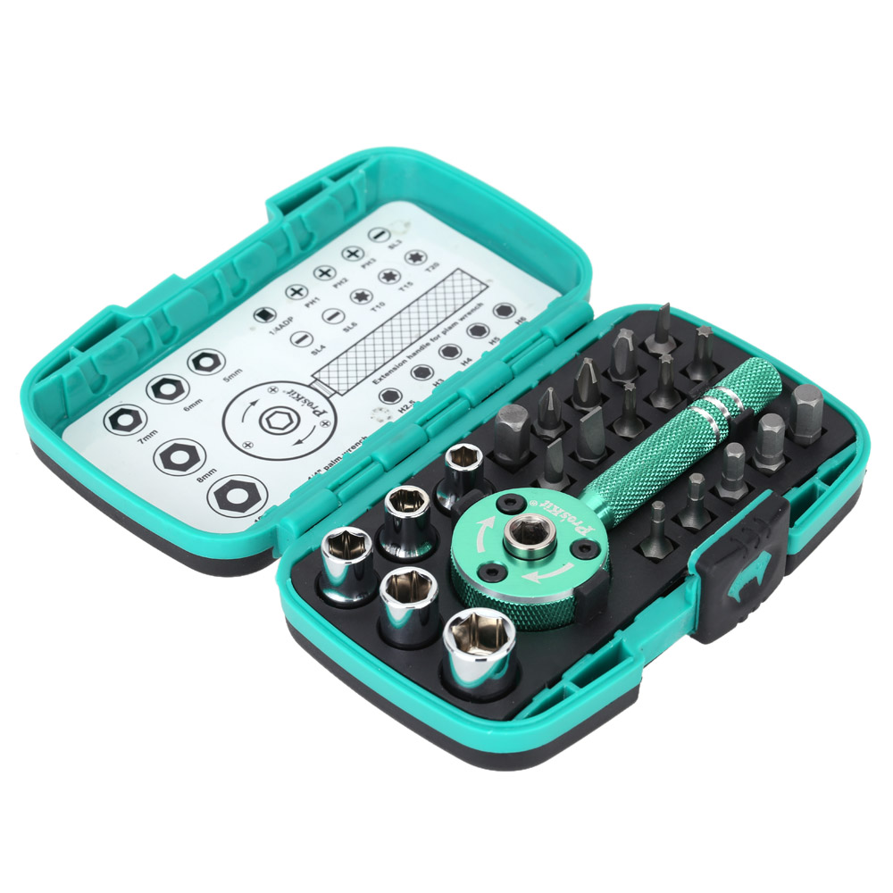 "22pcs Multi functional Palm Ratchet Wrench Bit 1/4"" Driver Socket Set"