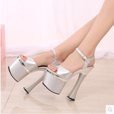 Sandals women Platform model T Stage Show Sexy High-heeled Shoes 18 cm High Transparent Waterproof  Wedding Shoes Nightclub sexy temptation to 18 centimeters nightclub high heeled shoes catwalk show reception appeal colourful shoes dance shoes