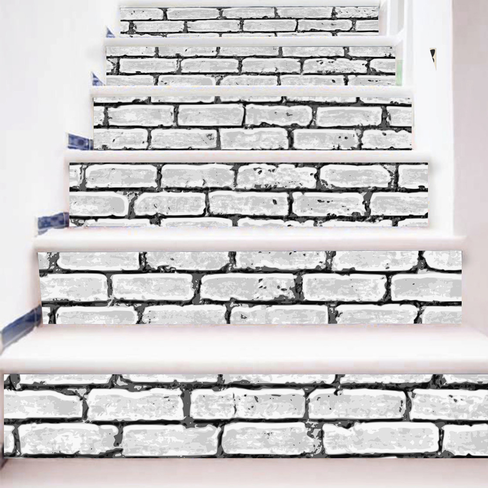 Wall tile buy cheap stone wall tile lots from china stone wall tile - 6 Pieces Set Creative Diy 3d Stairway Stickers White Wall Tiles Pattern For Room Stairs