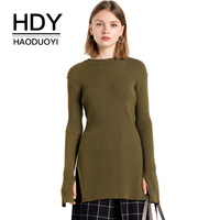 HDY Haoduoyi Women Sweaters Side Split Knitted Tops Long Sleeve Female Pullover Loose Solid Army Green