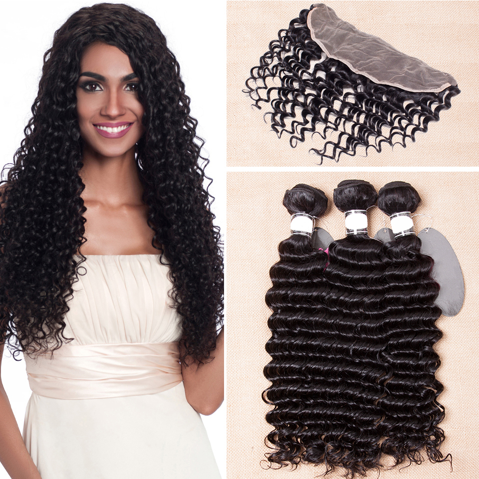 Deep Wave Frontal And Bundles Remy Brazilian Hair Weave 3/4 Bundles With Ear To Ear Lace Frontal Closure Human Hair Extension