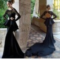 New Evening Gowns Chapel Train Jersey Cut Out Back Long Transparent Sleeve Mermaid Lace Long Sleeve Evening Dress 2015