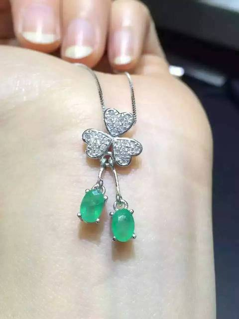 natural green emerald stone pendant S925 silver Natural gemstone Pendant Necklace trendy Elegant Clover women girl party jewelry