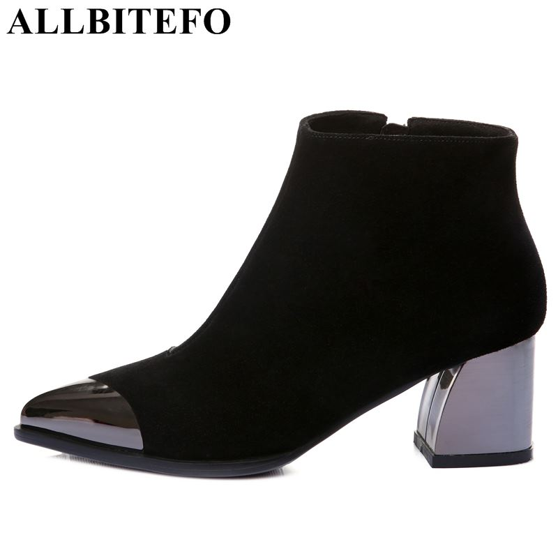 ALLBITEFO/женские ботинки из натуральной кожи с острым носком и металлическим носком, модные зимние кожаные ботинки на среднем каблуке для дево...
