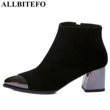 ALLBITEFO المعادن تو الطبيعي جلد طبيعي وأشار اصبع القدم النساء الأحذية أزياء متوسطة كعب الشتاء الفتيات الأحذية الجلدية حذاء من الجلد