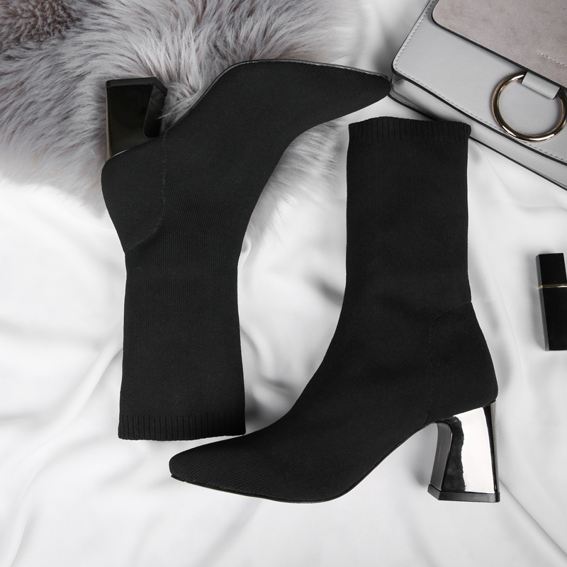 Women Boots 2018 Spring Autumn Ladies Fashion Square heels 7cm Boots Shoes Mid calf Knitting Long stockings Brand Boots jx5