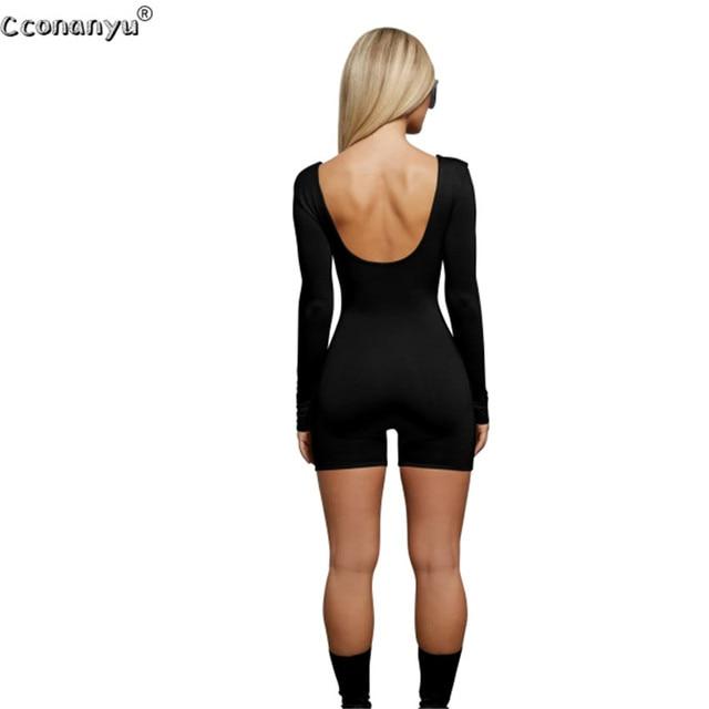 2019 Spring Playsuit for Woman Sexy Long Sleeve Short Playsuit Bodysuit Women Jumpsuit  Black White Women Jumpsuit 5