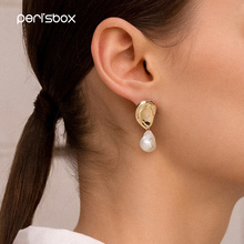Peri'sbox Baroque Hanging Freshwater Pearls Earrings for Women Asymmetric Dangle
