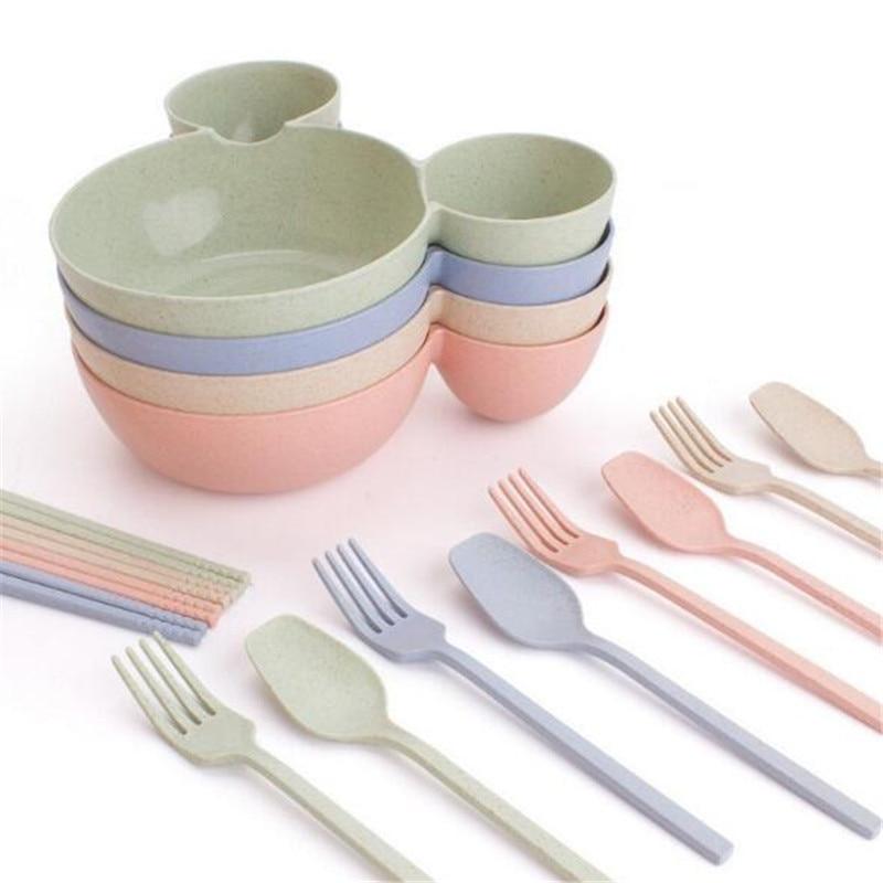 New 4 Pcs/set Dishes Wheat Cute Children Bowl Spoon Fork Chopsticks Set Food Fruit Plate Baby Bowl Spoon Childrens Tableware