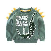 Осень Дети хлопок толстовка для мальчиков Принт с изображением девочки 3D Монстр динозавров Повседневное Топы Весна одежда для малышей Детская одежда