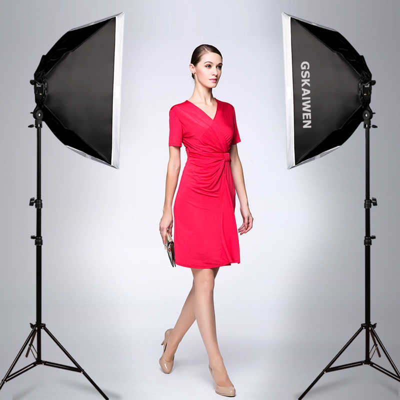 GSKAIWEN Photography Studio LED Lighting Kit Adjustable Light with Stand Softbox Tripod Photographic Video fill light