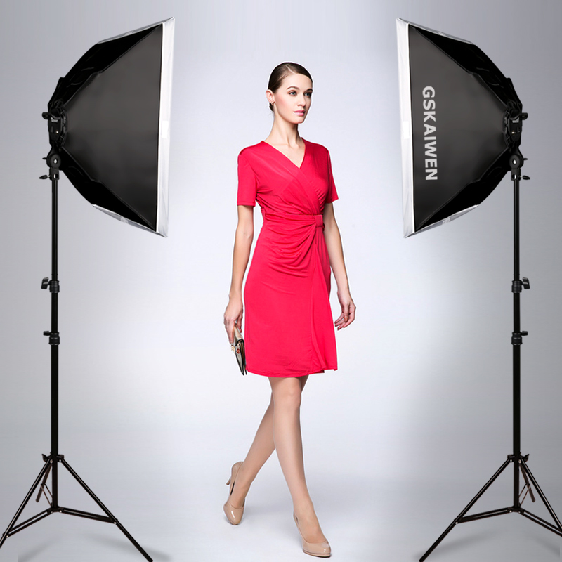 GSKAIWEN Photography Studio LED Lighting Kit Adjustable Light with Stand Softbox Tripod Photographic Video fill light-in Photographic Lighting from Consumer Electronics