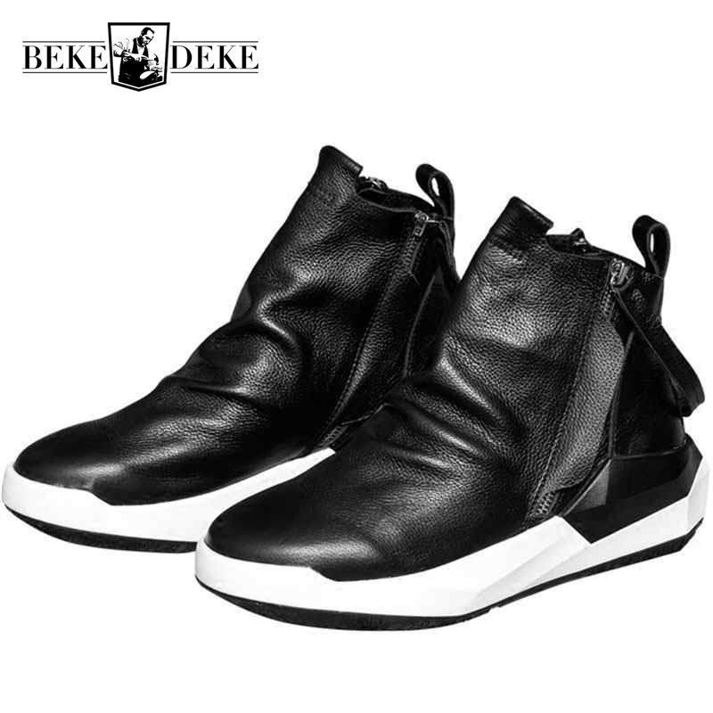 2018 New Men Shoes High-Top Ankle Boots Luxury Trainers Genuine Leather Sneaker Winter Boots Casual Brand Male Zip Black Shoes new 2018 men s chelsea boots black color fashion ankle martin boots luxury brand genuine leather zip men boots casual shoes 8