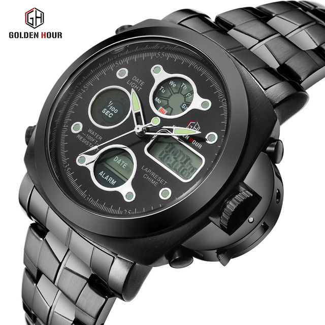 Men Luxury Electronic LED Digital And Analog Wristwatch