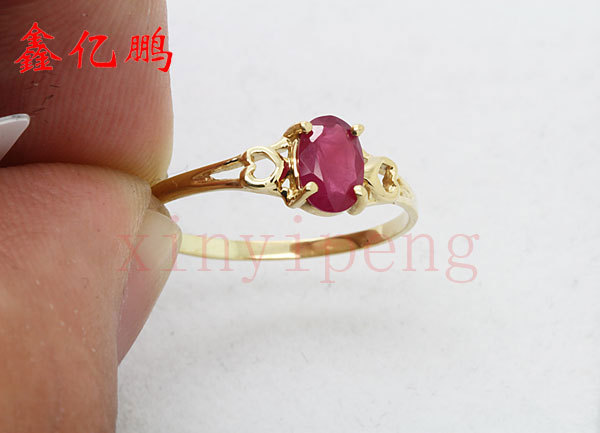Women 18 k gold inlaid natural ruby ring Fashion luxury 4x6mm 3