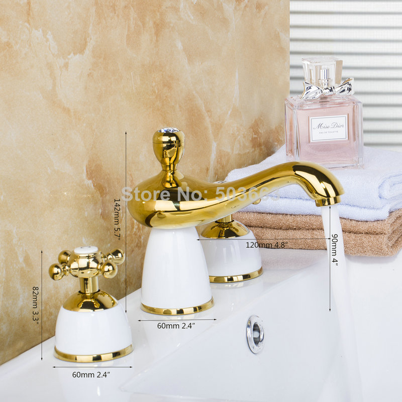 98000 Newly 3PCS Shower Golden Construction Deck Mounted Bathroom Basin Sink Bathtub Double Handles Mixer Tap Faucet free shipping polished chrome finish new wall mounted waterfall bathroom bathtub handheld shower tap mixer faucet yt 5333