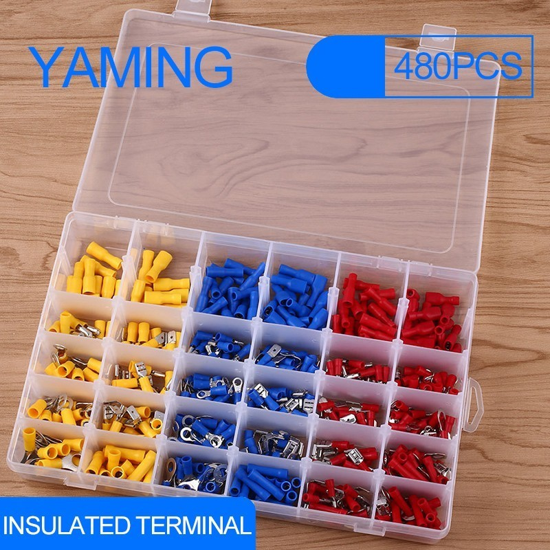 480pcs Insulated Terminals Electrical Crimp Connector Butt Spade Ring Fork Set Spade Assorted Insulated Electrical Wiring Wire480pcs Insulated Terminals Electrical Crimp Connector Butt Spade Ring Fork Set Spade Assorted Insulated Electrical Wiring Wire