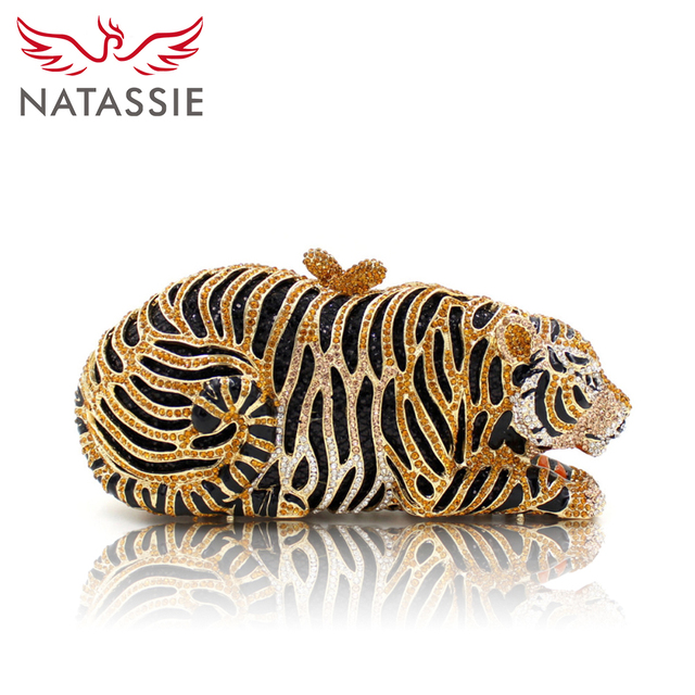NATASSIE Women Luxury Crystal Evening  Clutch Bag Tiger Shape Clutch Purse Party Gold Bags