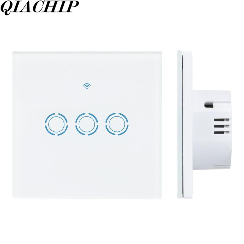 QIACHIP WiFi Smart Home Switch 3 Gang Waterproof Touch Panel APP Remote Control Amazon Alexa Google Home for IOS Android DS25 sonoff t1 us smart touch wall switch 1 2 3 gang wifi 315 rf app remote smart home works with amazon free ios and app ewelink