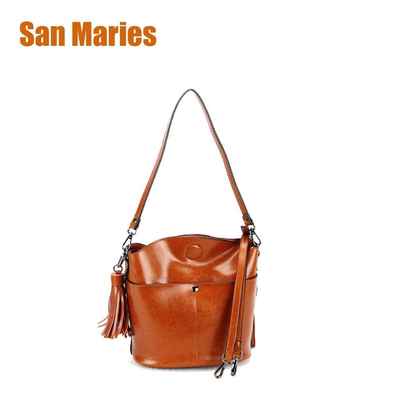 San Maries Brand Women Cow Leather Handbags Female Genuine Leather Shoulder Bags Crossbody Bag With Tassel Ladies Messenger Bag san maries 100% genuine leather women handbags 2018 new arrival female korean fashion totes crossbody bag shoulder bags handbags