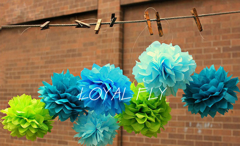Free Shipping 5pcs 16 inch 40cm Tissue Paper Pom Poms artificial Flower Balls, Party, Baby Shower, Nursery, Wedding Decoration