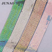 JUNAO 1 Yard 36mm Glitter Sequin Ribbon Lace Ribbons Trim Handmade Fabric Tape DIY Crafts Hair Bows Accessories Wedding Deco
