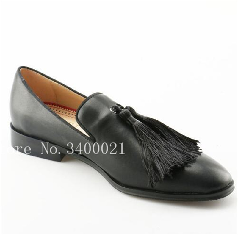 bfc9f7854ef9d US $78.1 29% OFF|Men Dress Shoes Leather Black Tassel Fringe Mens Slip on  Loafers Smoking Males Red Bottoms for Men luxury men shoes-in Men's Casual  ...