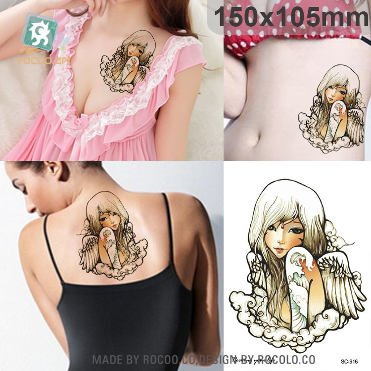 Colourful Body Art waterproof temporary tattoos Sexy 3D Angel Wing design large arm tattoo sticker Free Shipping SC2916
