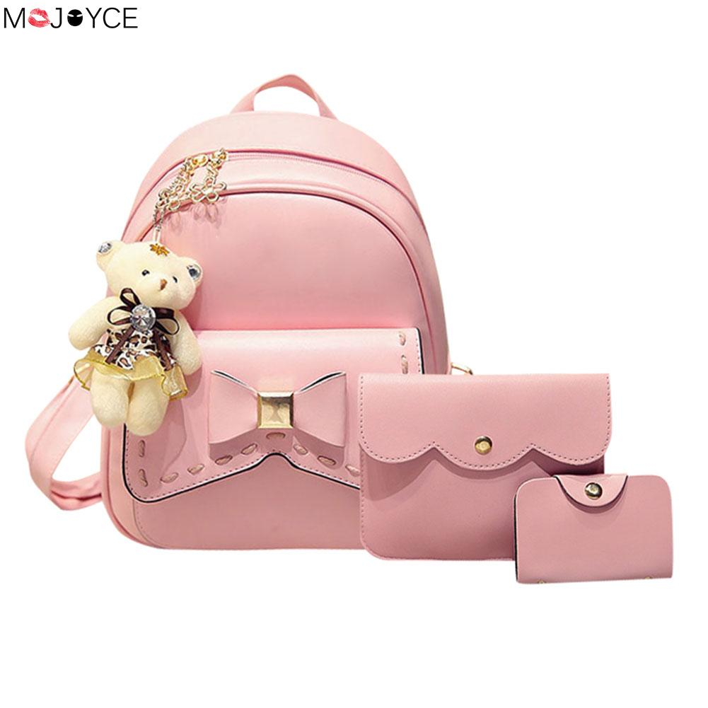 все цены на Small Women Backpacks female School Bags For Teenage Girls Black PU Leather Women Backpack Shoulder Bag Purse conjunto de bolsas онлайн