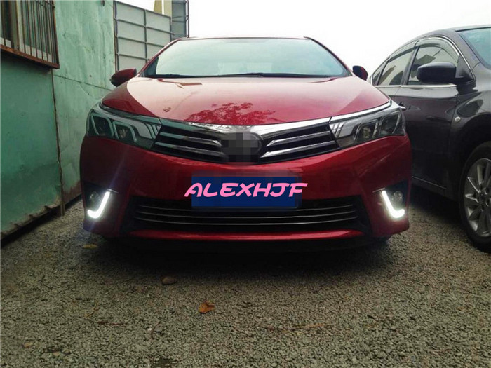 July King Light Guide LED Daytime Running Lights with Fog Lamp Cover Case for Toyota Corolla 2014 EU, LED Front Bumper DRL july king led daytime running light drl with fog lamp cover fog lamp assembly case for toyota highlander 2014 on 1 1