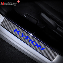 Car Styling Carbon Fiber Vinyl Sticker Door Sill Protector Scuff Plate sill guard For Ssangyong KYRON Accessories