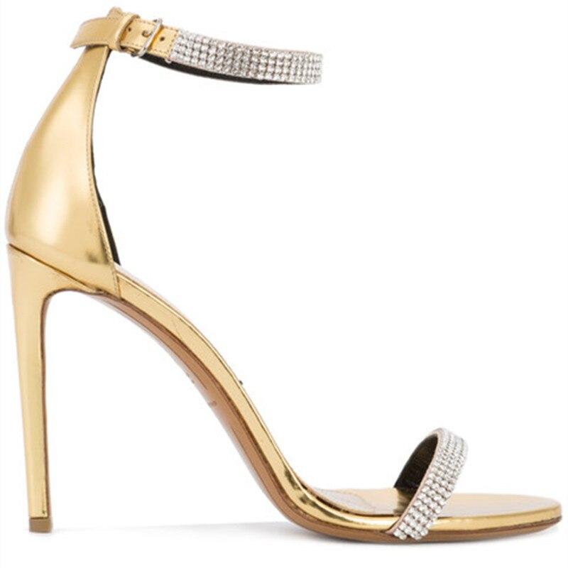 Fashion Gold Leather One Belt Designer Summer High Heel Sandals Women Crystal Concise Dress Shoes