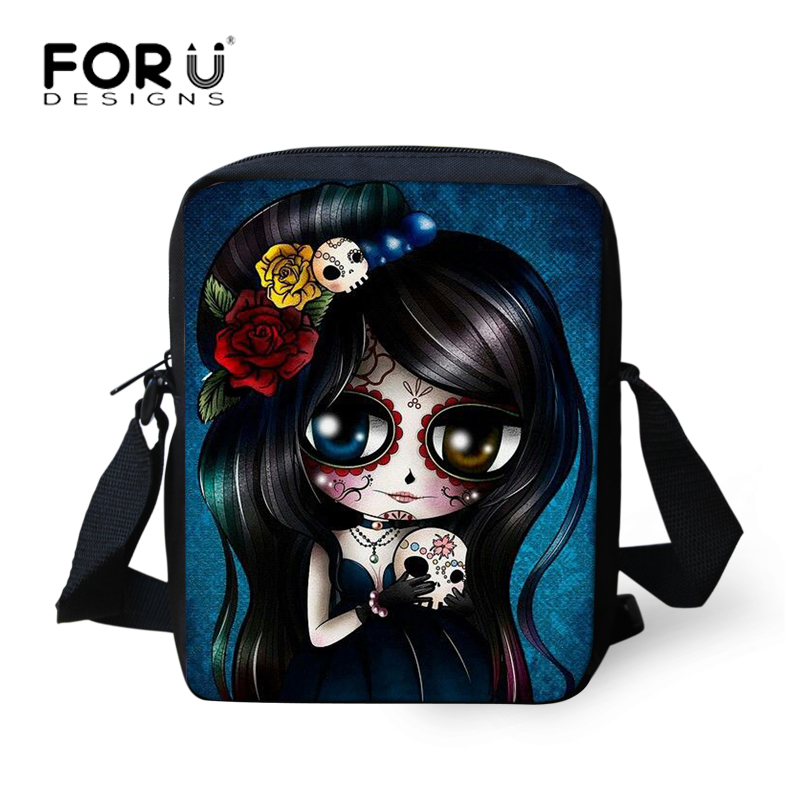 FORUDESIGNS Cute Women Messenger Bags for Girls Kawaii Crossbody Bags,Punk Skull Head Printing Mini Single Female Shoulder Bag cute cartoon women bag flower animals printing oxford storage bags kawaii lunch bag for girls food bag school lunch box z0