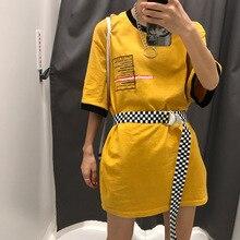 Badinka 2019 New Summer Harajuku Unisex Women Men Long Checkerboard Waist Belt Female Male Plaid Metal D Ring Canvas Belts