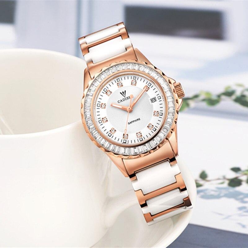 45837b27697 Relojes Mujer 2017 CADISEN top marca de moda das Mulheres relógios pulseira  de cerâmica relógio de