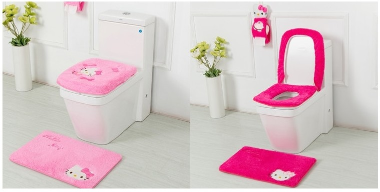 431c251ed Detail Feedback Questions about Hello Kitty Bathroom Set Toilet Seat Cover  Bath Mat Paper Holder Closestool Lid Cover 4pcs/Set Toilet Seat Cushion  Tissue ...