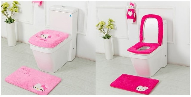 Hello Kitty Bathroom Set Toilet Seat Cover Bath Mat Paper Holder Closestool Lid 4pcs