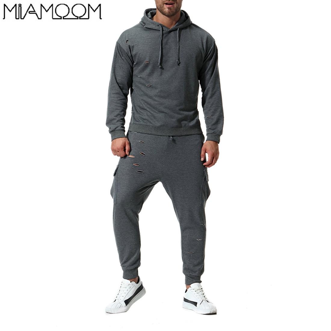 Hommes Sweat costume automne hommes à capuche mode tendance cassé personnalité sport décontracté hommes costumes