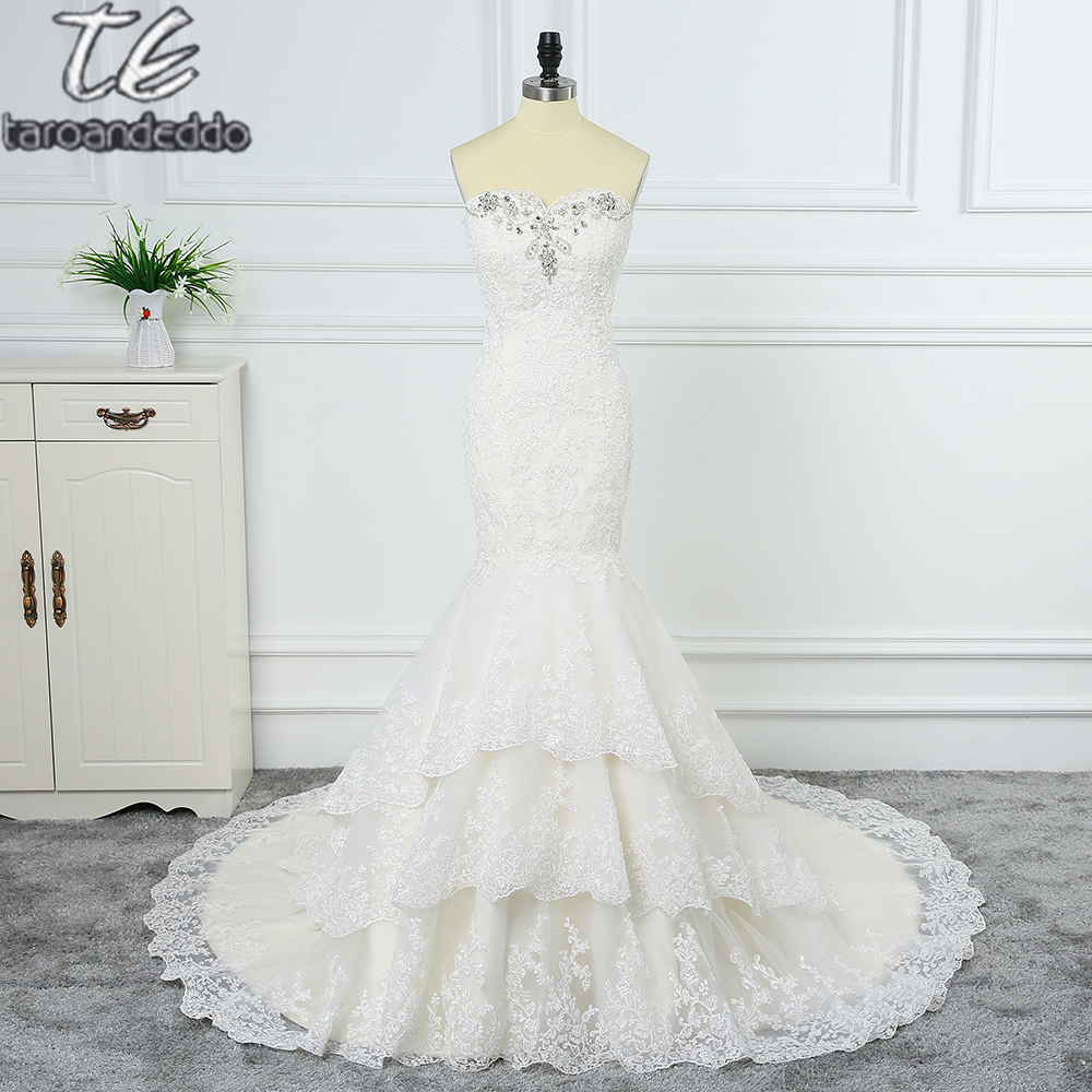 2018 Top Quality Champagne Layers Skirt Lace Mermaid Wedding Dress Crystals Off The Shoulder Bridal Gown