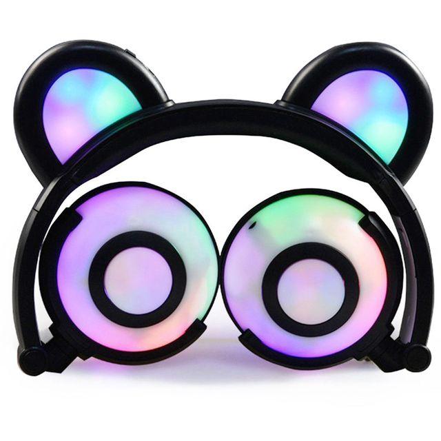 Urso Fones de Ouvido, piscando Glowing Cosplay Fantasia Gato Fones De Ouvido Dobrável Over-Ear Headsets Gaming Fone de Ouvido com Flash LED li