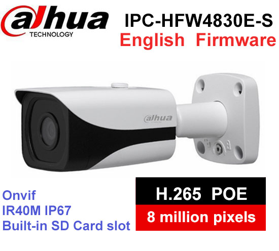 Dahua 4K IPC-HFW4830E-S Ultra HD 8MP built-in sd card slot H2.65 IP67 IR40M POE Mini Bullet Network IP Camera dahua 4k ipc hfw4830e s ultra hd 8mp built in sd card slot h2 65 ip67 ir 40m poe mini bullet network ip camera