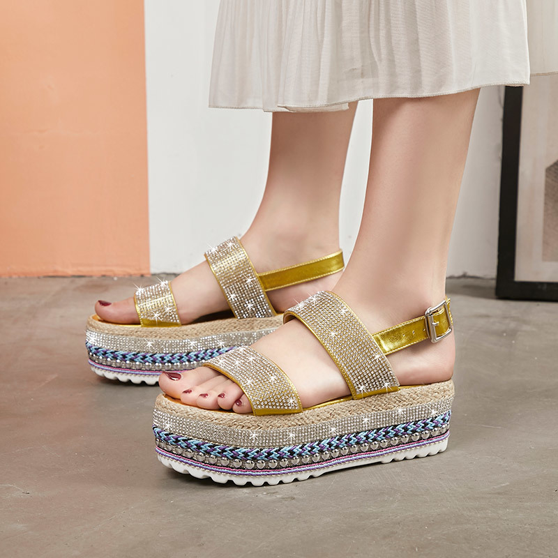 Rimocy luxury crystal heels gladiator sandals women fashion 2019 summer ankle strap thick bottom sandalias shoes woman platformRimocy luxury crystal heels gladiator sandals women fashion 2019 summer ankle strap thick bottom sandalias shoes woman platform