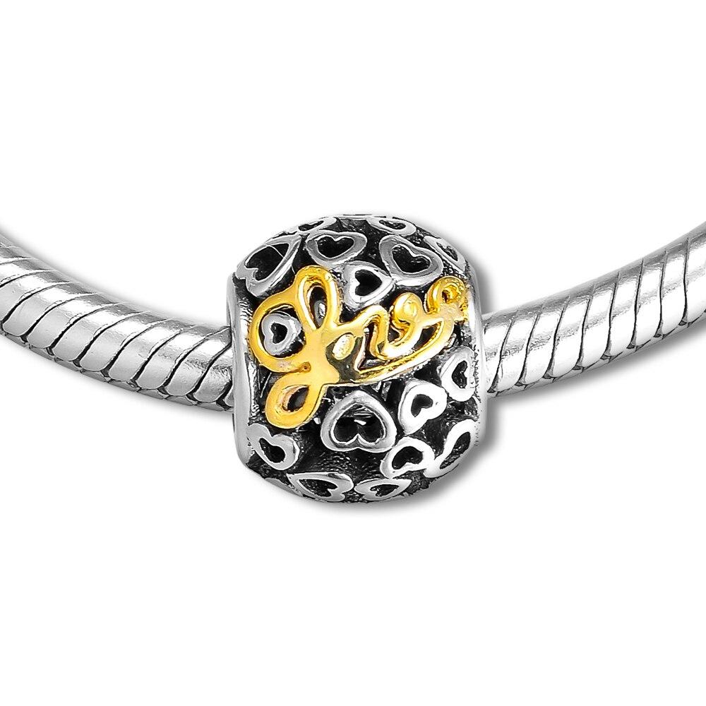 Convient aux bracelets à breloques Pandora Message de perles d'amour avec 14 K or véritable 925 bijoux en argent Sterling livraison gratuite