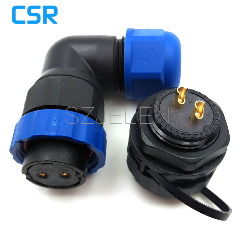 SD20TA-ZM, 90 degree elbow waterproof connector 2 pin,IP67, 2-pin female connector, 2-pin male socket, Power cable connector connector 2143316 2 connector