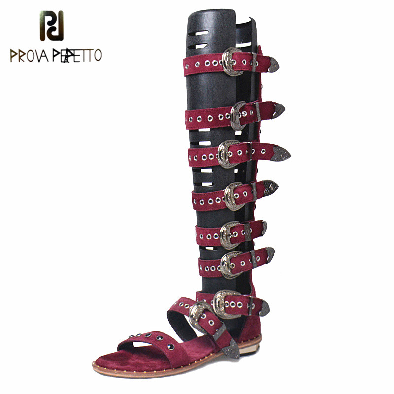 Prova Perfetto Gladiator Over Knee High Heel Boots Sandals Woman Real Leather Buckle Rivet Flat Women Sandals Punk Style Shoe prova perfetto 2018 summer new style comfort woman sandals all match real leather thick heel butterfly knot fashion sandals